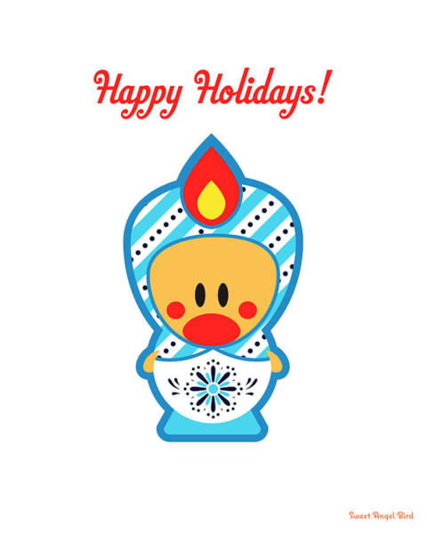 Cute Art - Happy Holidays Folk Art Sweet Angel Bird In A Nesting Doll Costume Wall Art Print Poster