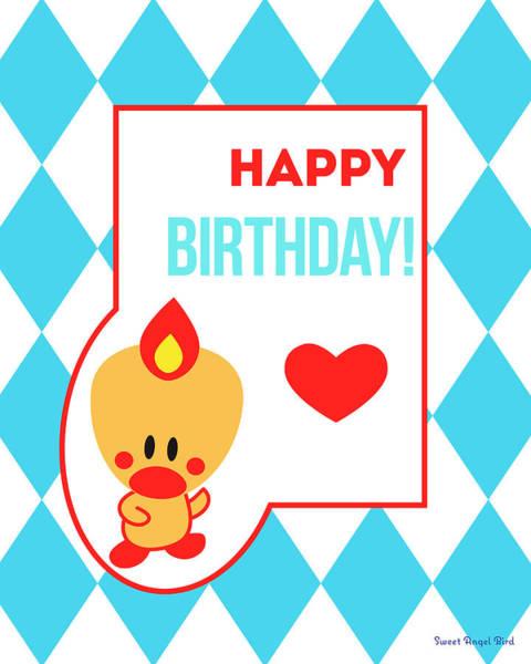 Cute Art - Sweet Angel Bird Blue Happy Birthday Circus Diamond Pattern Wall Art Print Poster