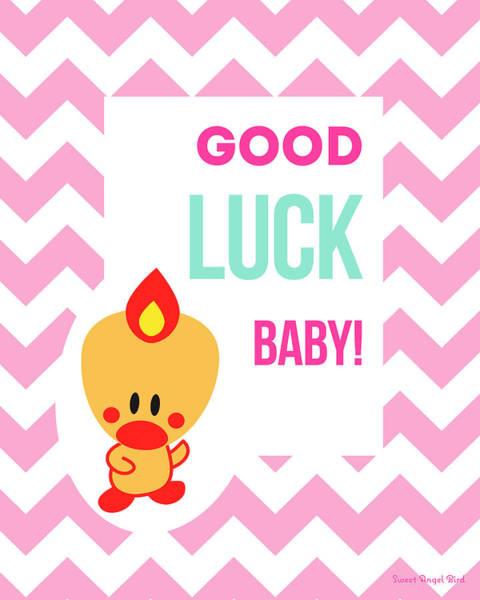 Cute Art - Sweet Angel Bird Cotton Candy Pink Good Luck Baby Chevron Wall Art Print Poster
