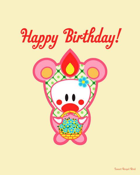 Cute Art - Sweet Angel Bird In A Bear Costume Holding A Basket Of Flowers Happy Birthday Wall Art Print Poster
