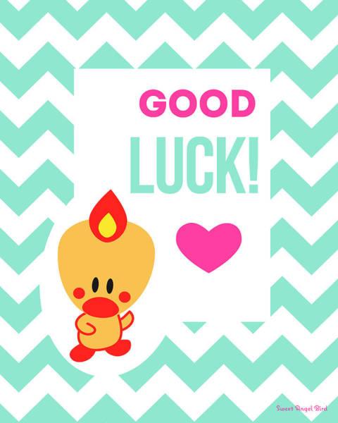 Cute Art - Sweet Angel Bird Light Teal Good Luck Chevron Wall Art Print Poster