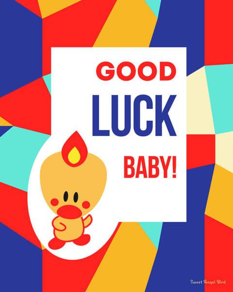 Cute Art - Sweet Angel Bird Multicolor Colorblock Good Luck Baby Wall Art Print Poster