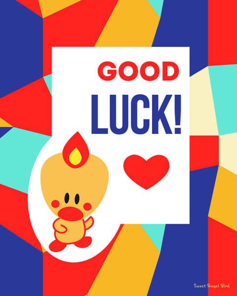 Cute Art - Sweet Angel Bird Multicolor Colorblock Good Luck Wall Art Print Poster