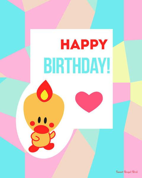 Cute Art - Sweet Angel Bird Pastel Colorblock Happy Birthday Wall Art Print Poster