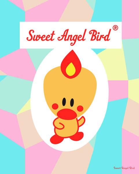 Cute Art - Sweet Angel Bird Pastel Colorblock Logo Wall Art Print Poster