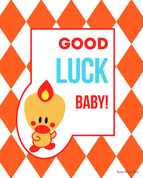 Cute Art - Sweet Angel Bird Terra Cotta Good Luck Baby Circus Diamond Pattern Wall Art Print Poster