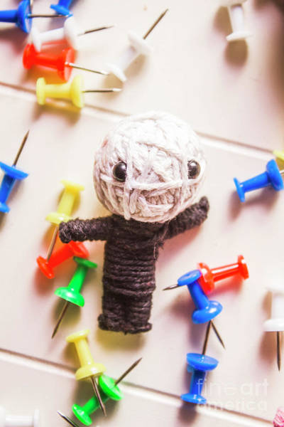 Cute Doll Made From Yarn Surrounded By Pins Poster