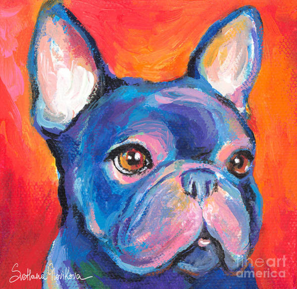 Cute French Bulldog Painting Prints Poster