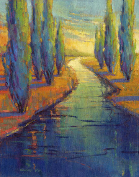 Poster featuring the painting Cypress Reflection by Konnie Kim