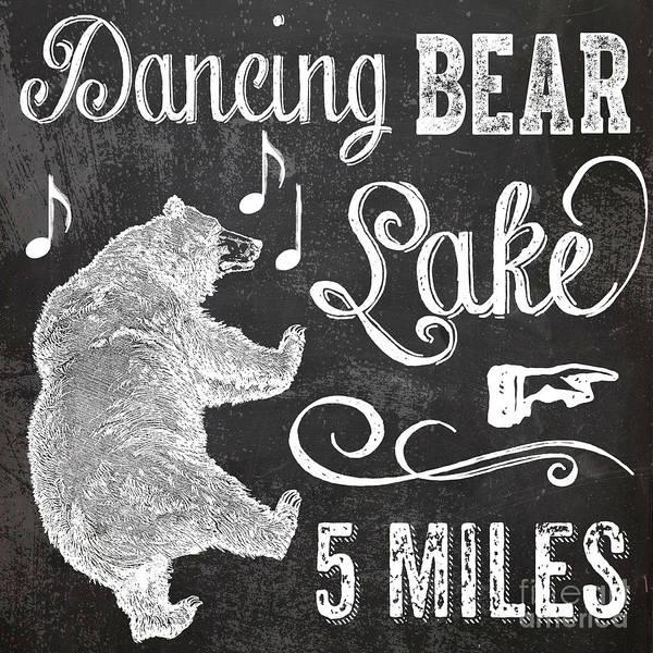 Dancing Bear Lake Rustic Cabin Sign Poster