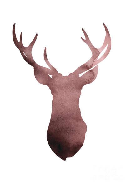 Deer Antlers Silhouette Minimalist Painting Poster