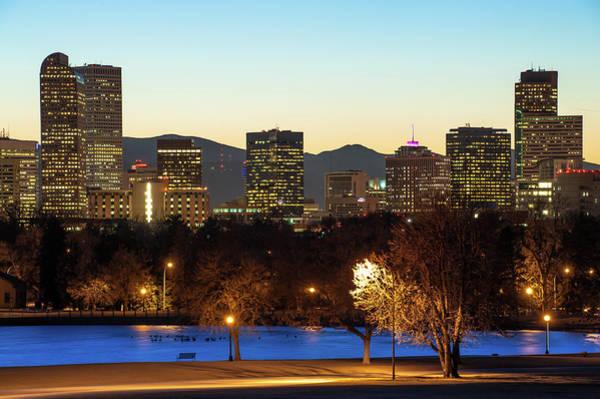 Denver Skyline - City Park View - Cool Blue Poster