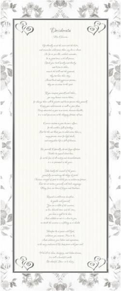 Desiderata In Silver Script By Max Ehrmann Poster