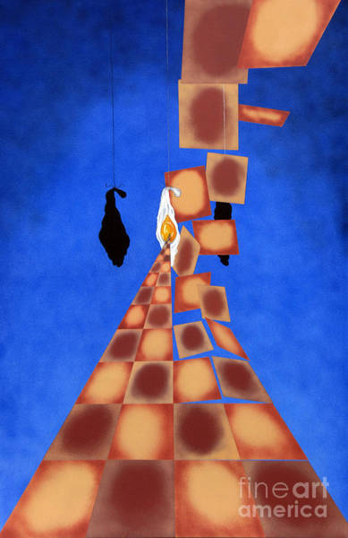 Disrupted Egg Path On Blue Poster