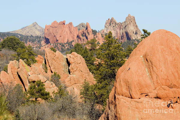 Distant Garden Of The Gods From Red Rock Canyon Poster