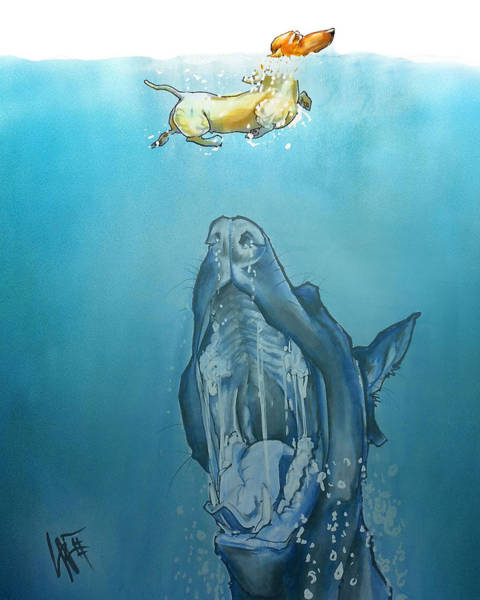 Dog-themed Jaws Caricature Art Print Poster