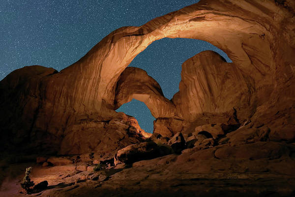 Double Arch And The Milky Way - Arches National Park - Moab, Utah By Olena Art - Brand  Poster