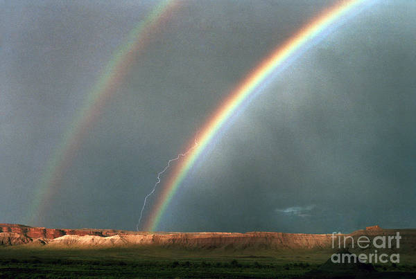 Double Rainbow And Lightning-signed Poster