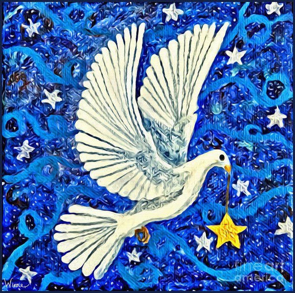 Dove With Star Poster