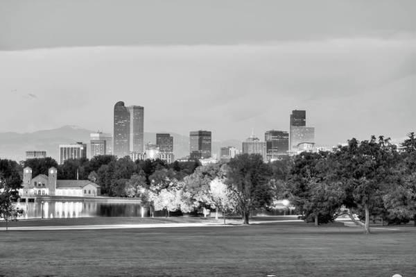 Downtown Denver Skyline - Black And White Poster