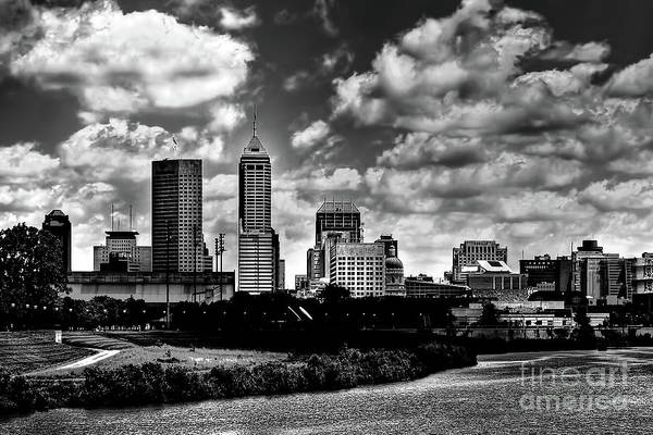 Downtown Indianapolis Skyline Black And White Poster