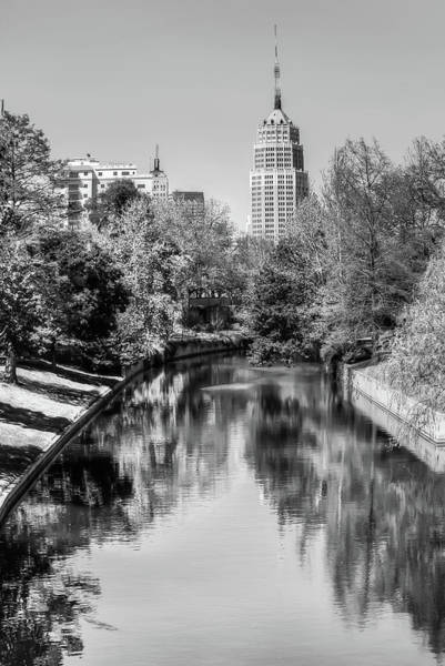 Downtown San Antonio Skyline On The River In Black And White Poster