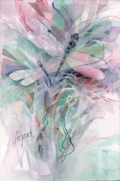 Poster featuring the painting Dragonfly Duet by Carolyn Utigard Thomas