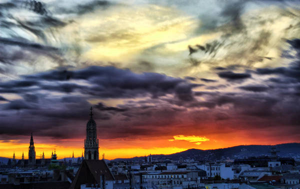 Dramatic Sunset Clouds Over Vienna Poster