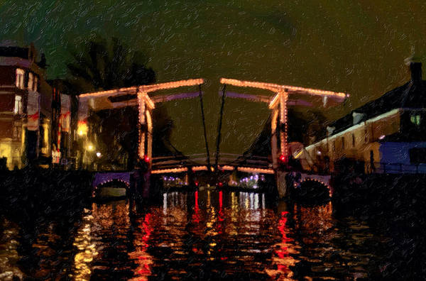 Drawbridge Over Amsterdam Canals Poster