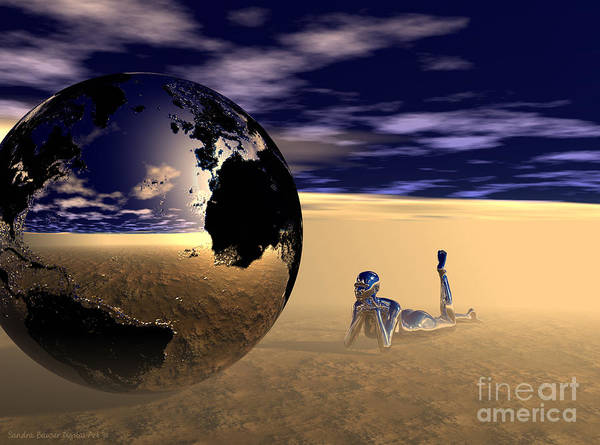 Poster featuring the digital art Dreaming Of Other Worlds by Sandra Bauser Digital Art
