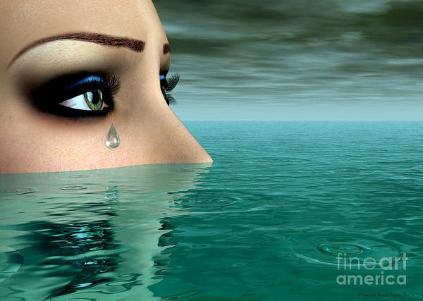 Poster featuring the digital art Drowning In A Sea Of Tears by Sandra Bauser Digital Art