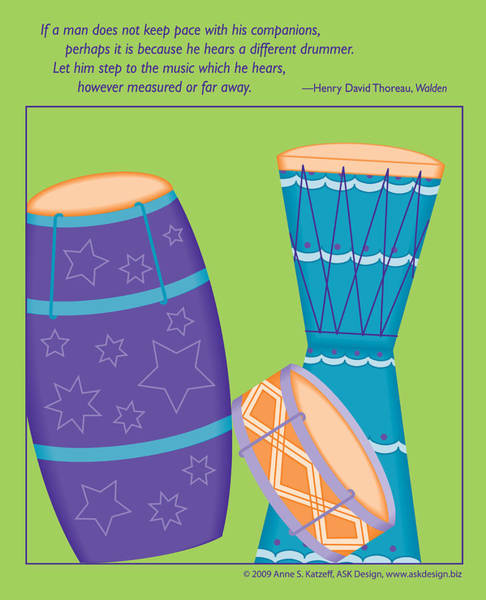 Drums - Thoreau Quote Poster
