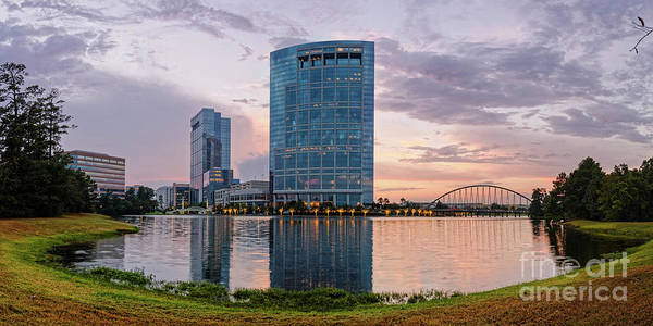 Dusk Panorama Of The Woodlands Waterway And Anadarko Petroleum Towers - The Woodlands Texas Poster