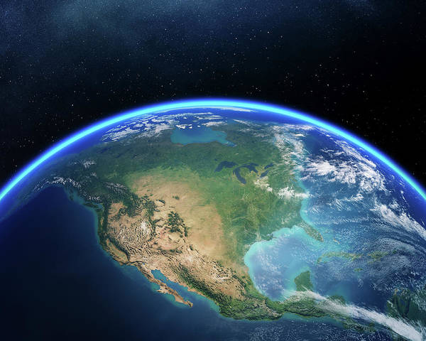 Earth From Space North America Poster