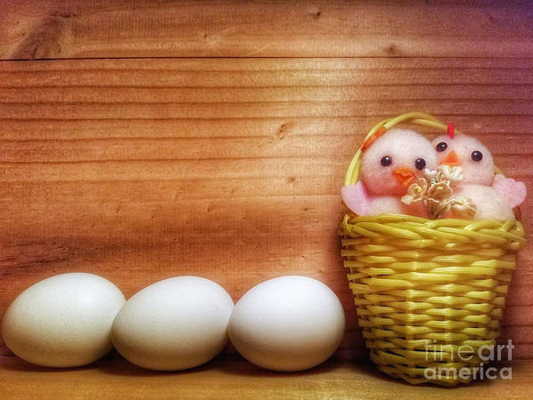 Easter Basket Of Pink Chicks With Eggs Poster