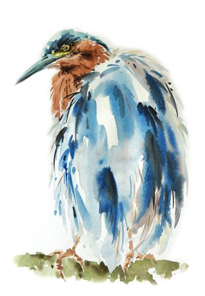 Egret Bird Painting Poster