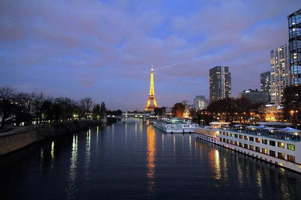 Eiffel Tower Over The Seine Poster