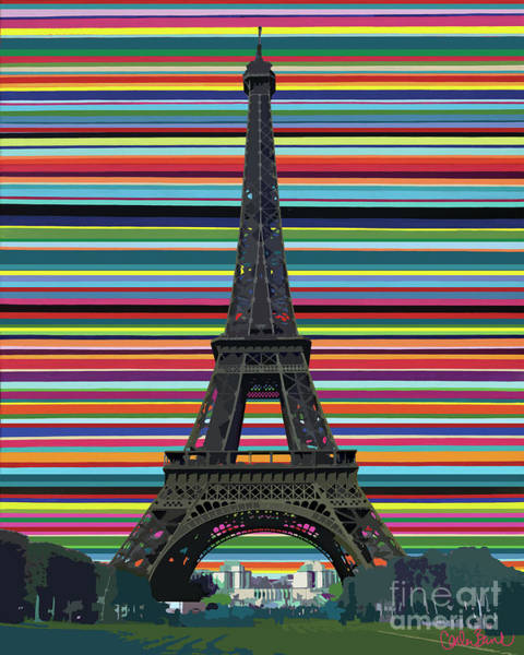 Poster featuring the painting Eiffel Tower With Lines by Carla Bank