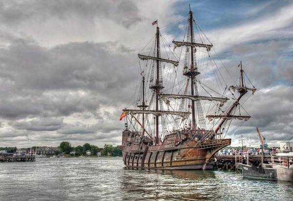Poster featuring the photograph El Galeon Andalucia In Portsmouth by Wayne Marshall Chase