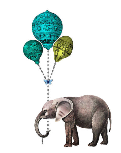 Elephant Holding Blue And Yellow Balloons Poster