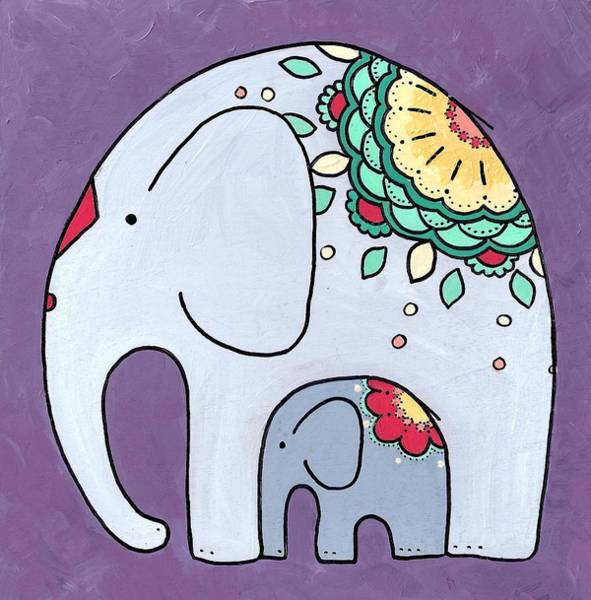 Poster featuring the painting Elephant And Child - On Purple by Caroline Sainis