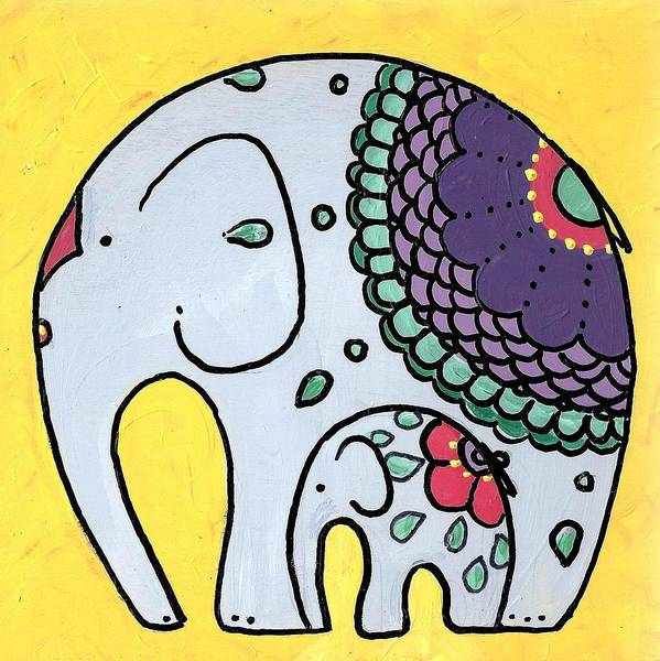 Poster featuring the painting Elephant And Child On Yellow by Caroline Sainis