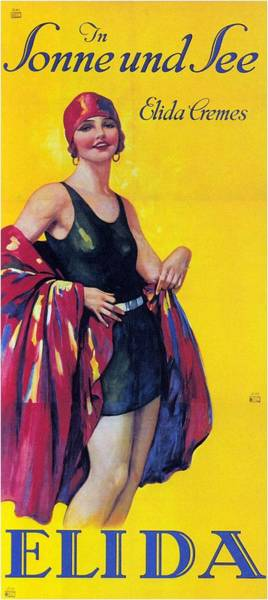 Elida Cremes In Sonne Und See - Woman In Swimsuit - Vintage Advertising Poster Poster