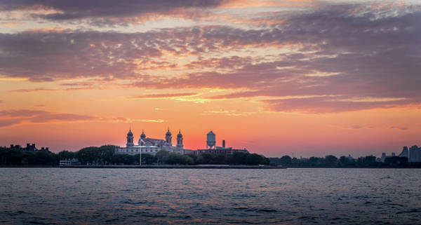 Ellis Island At Sunset Poster