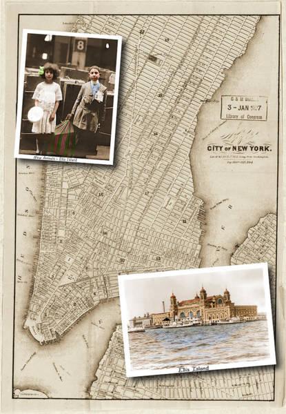 Ellis Island Vintage Map Child Immigrants Poster