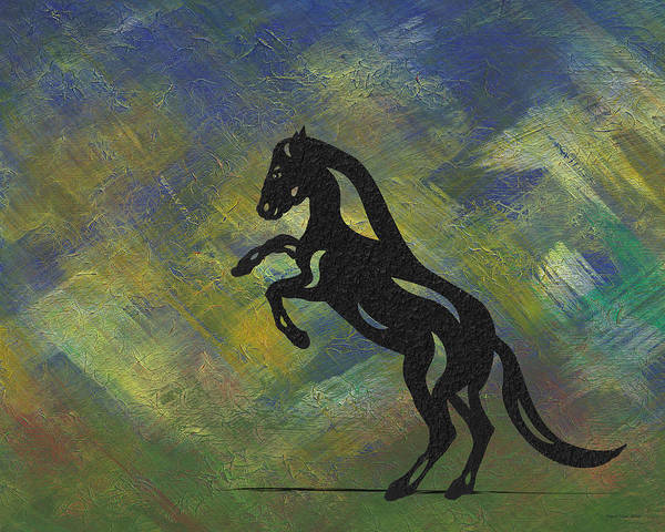 Poster featuring the painting Emma - Abstract Horse by Manuel Sueess