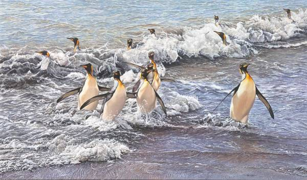 Poster featuring the painting Emperor Penguins by Alan M Hunt