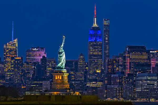Empire State And Statue Of Liberty II Poster