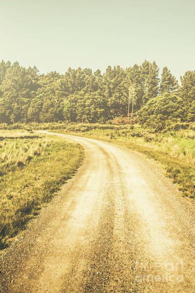 Empty Curved Gravel Road In Tasmania, Australia Poster