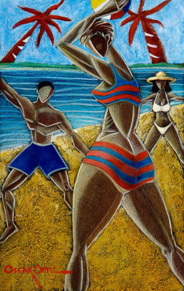 Poster featuring the painting En Luquillo Se Goza by Oscar Ortiz